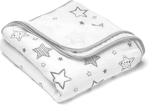 Manta para bebé estrellas - 120x120 cm, 100% algodón / Mantita suave minicuna - cochecito / Arrullo recien nacido, cambiador, manta envolvente de muselina - Blanca Gris: Amazon.es: Hogar