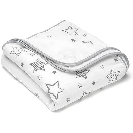Manta para bebé estrellas - 120x120 cm, 100% algodón / Mantita suave minicuna -