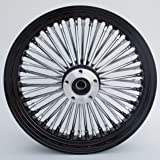 """Black and Chrome Ultima King Spoke 16"""" x 3.5"""" Front Dual Disc Wheel for 2000-2006 Harley and Custom"""