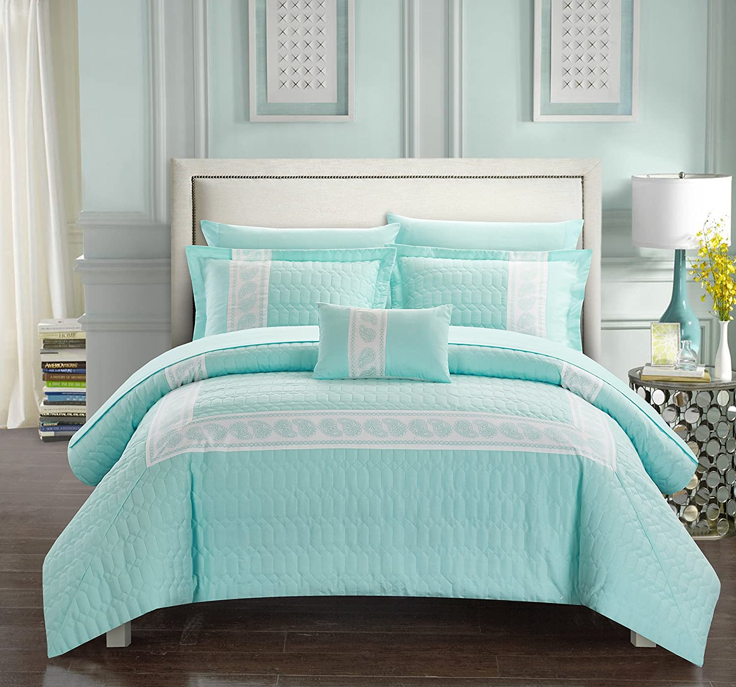 Chic Home Titian 6 Piece Comforter Hotel Collection Hexagon Embossed Paisley Print Border Design Bed in a Bag-Sheet Set Decorative Pillow Sham Included, Twin, Aqua