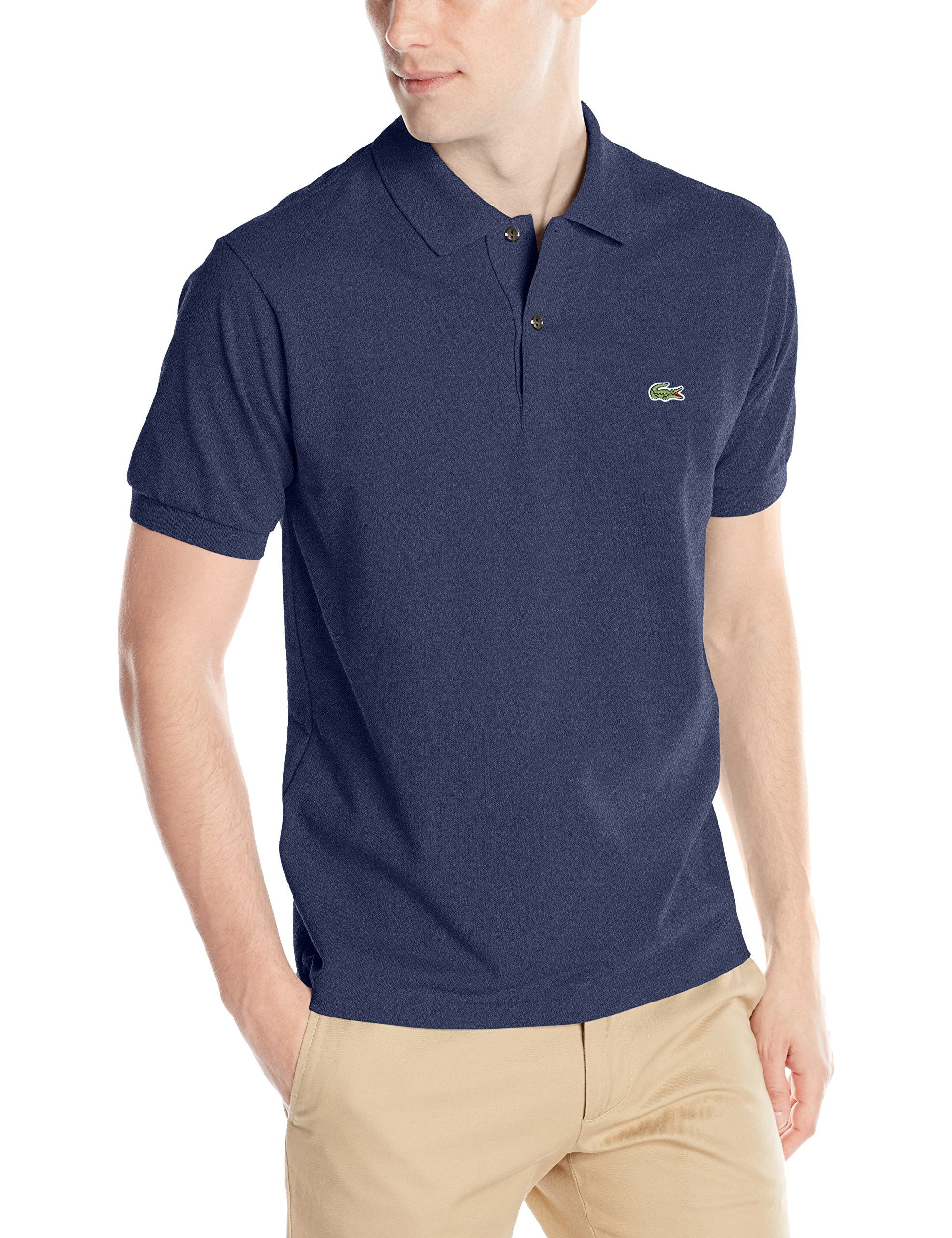 226566b739 Galleon - Lacoste Men's Short Sleeve Classic Chine Fabric L.12.64 Original  Fit Polo Shirt, Dark Indigo Blue Chine, 4
