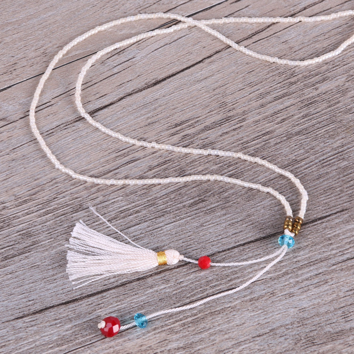 KELITCH Color Choosable Crystal Seed Beads Tassels Pendant Necklace Fashion Strand Jewelry 28 AMN0181K