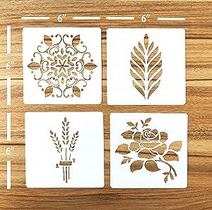 """Güden Pack of 4 European Artisan Bread Stencils (StencilGroup1) 6"""" By 6''"""