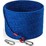 Loreso Strong Magnet Fishing Rope with Double Carabiner, Camping Rope - Heavy Duty 1200 lb Strength All Purpose Ropes for Mag
