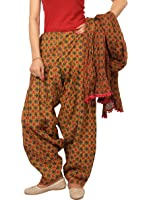 Rama Women's Cotton Brown and Green abstract Print Patialal dupatta set.