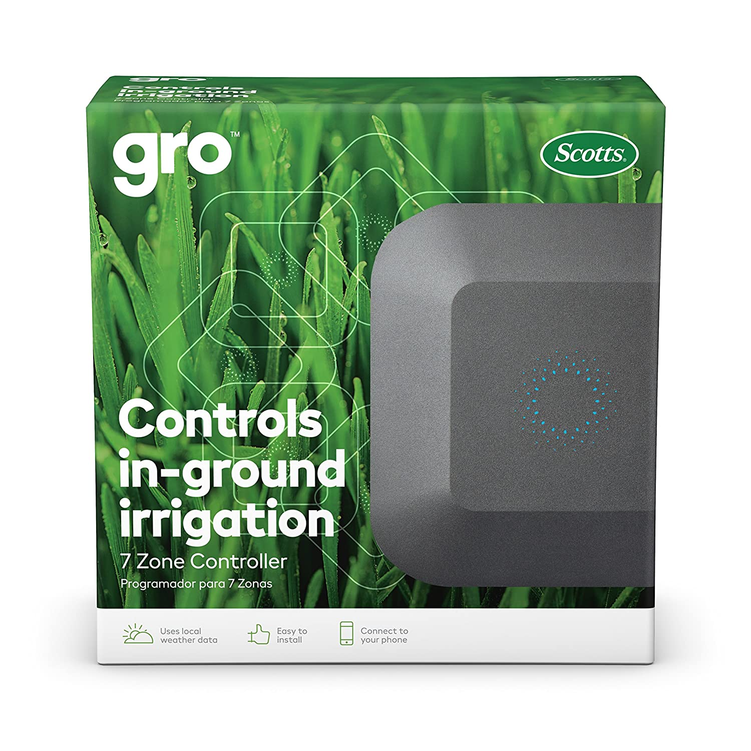 Gro 7 Zone Controller from Scotts|Works With Alexa & Google Assistant|Easily Control Water For Up To 7 Zones|Uses Real Time Weather Data To Automatically Adjust Watering Schedule & Reduce Water Waste