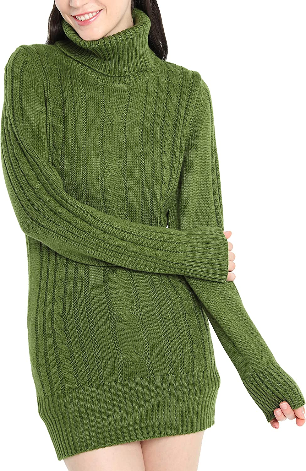 Liny Xin Women's Cashmere Knitted Turtleneck Long Sleeve Winter Wool Pullover Long Sweater Dresses Tops (M, Army Green)