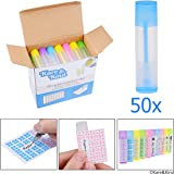 Lip Balm Container Tubes - 50-Pack (10x5 colors) - DIY - 3/16 Oz (5.5 ml) - Including 50 Writeable (10x5 colors) & 50 Printed Lip Balm Stickers - Twist Mechanism and a Cap - Empty - Make Lip Balm