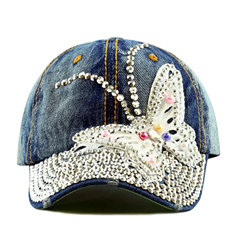 The Hat Depot 200 Bling Rhinestone Butterfly Washed Denim Cap