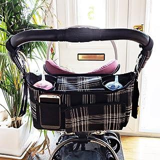 Pram Bag Buggy Organiser Handlebar Console Pram Buggy Storage Bag with Mobile Phone Holder Nappy Bag Separate Purse Black White
