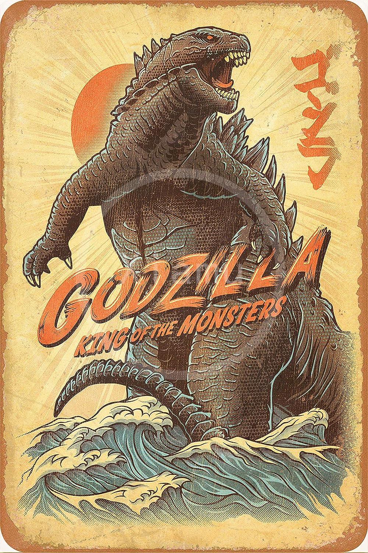 None Brand Godzilla Tin Retro Sign Vintage Metal Poster Plaque Warning Signs Iron Art Hanging Wall Decoration Yard Cafe Bar Pub Club Gift 20X30 cm