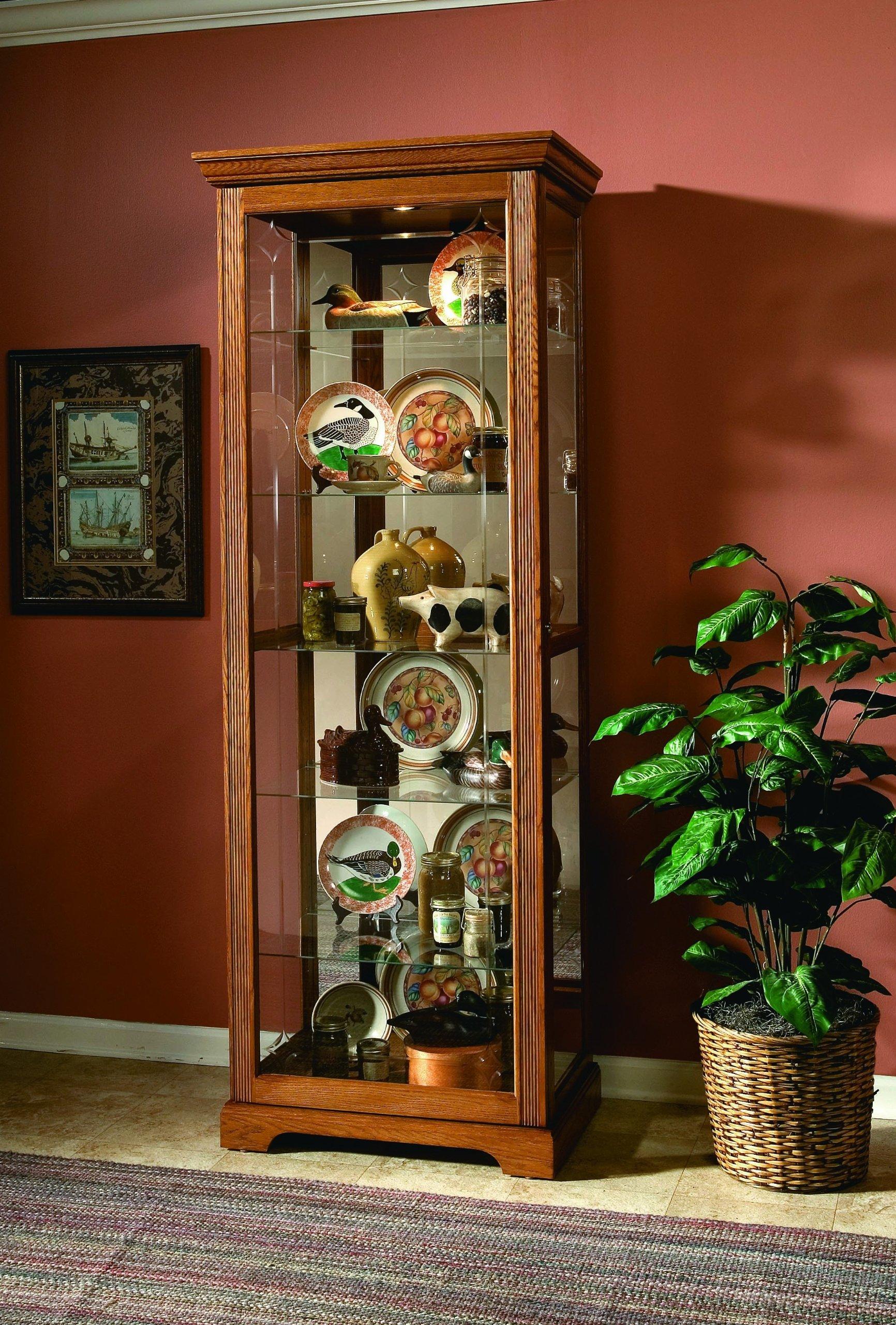 Pulaski Two Way Sliding Door Curio, 30 by 20 by 80-Inch, Golden Oak II Finish, Medium Brown by Pulaski