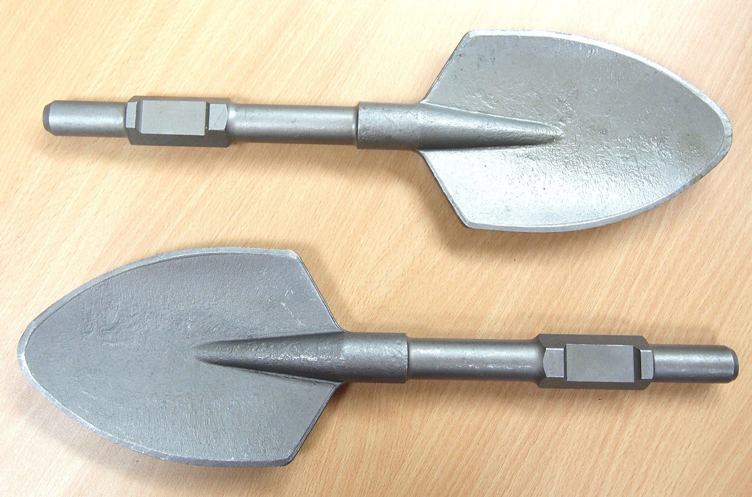 Lot of (2) Spade Shovel Head Bit Demolition Jack Hammer attachment 1-1/8'' Hex Shank by e7tools