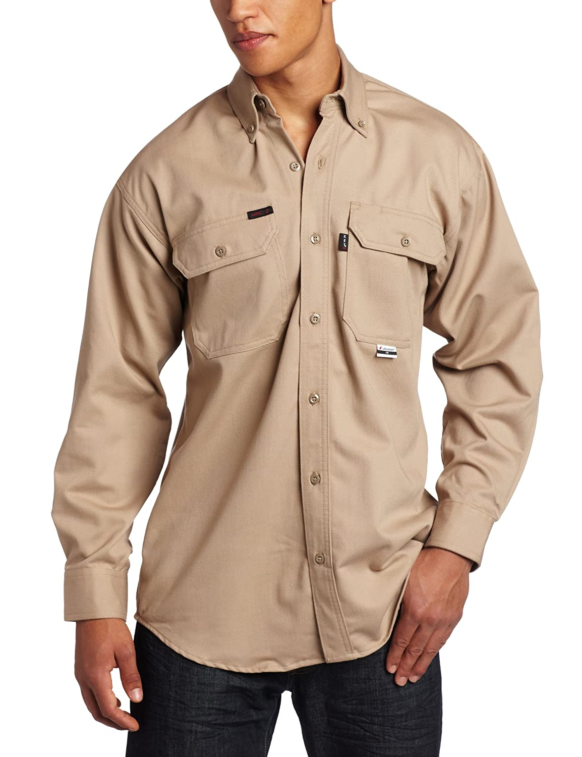 Key Industries Mens Fire Resistant Button Down Long Sleeve Twill Shirt