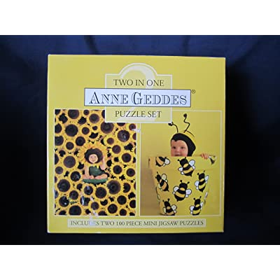 Ceaco 2002 Anne Geddes Mini Two in One Sunflower & Bee Jigsaw Puzzle Set - 100 Pieces: Toys & Games