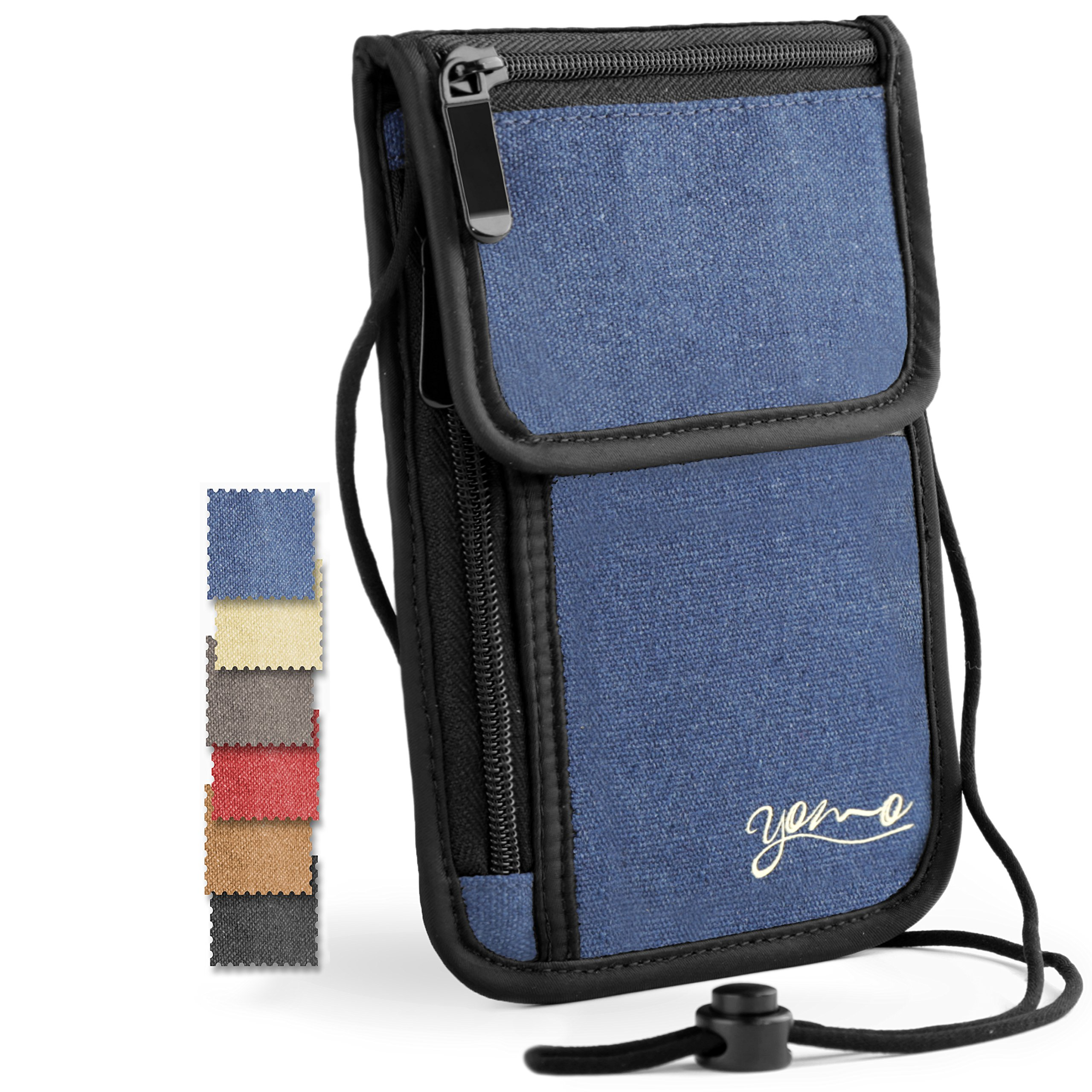 Passport Holder- by YOMO. RFID Safe. The Classic Neck Travel Wallet. (Basic Blue)