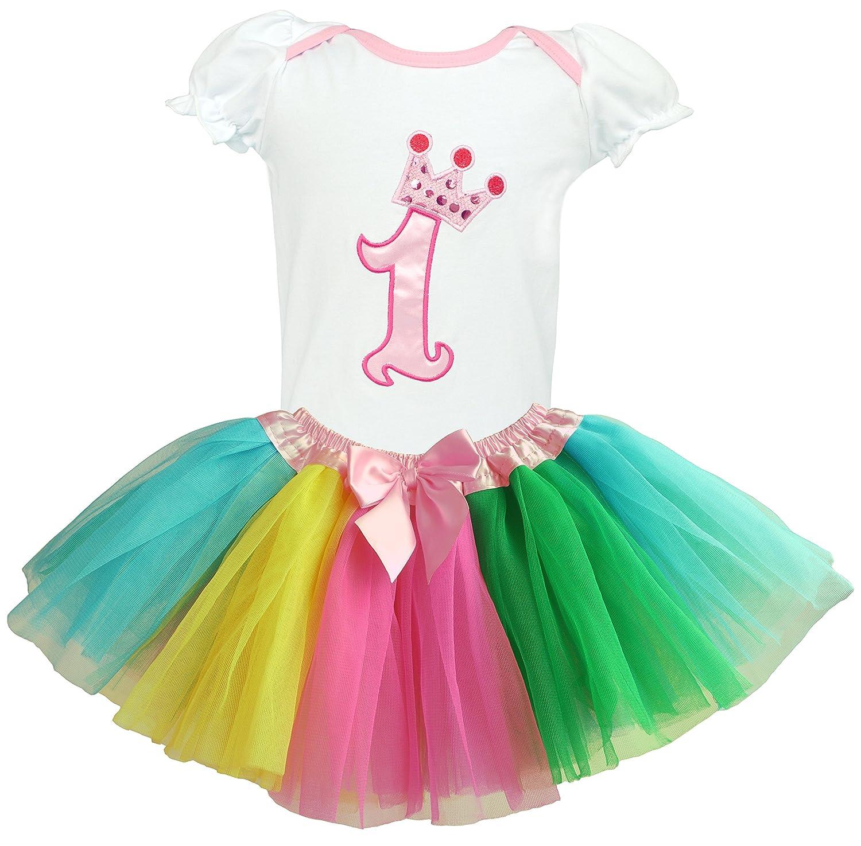 c658214b9 Dancina 1st Birthday Set Newborn Baby Girl's Toddler Cute Crown Tunic  Rainbow Tutu Gift 9-12 Months: Amazon.co.uk: Clothing