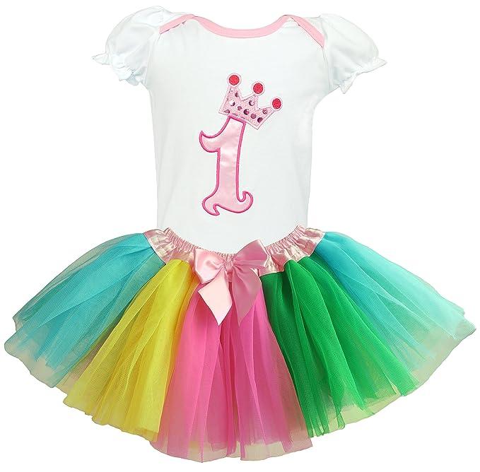 b71292d61831 Dancina Set de Falda Tutú y Camisa para Primer Cumpleaños Bebés 9-12 Meses  Arco Iris: Amazon.es: Ropa y accesorios
