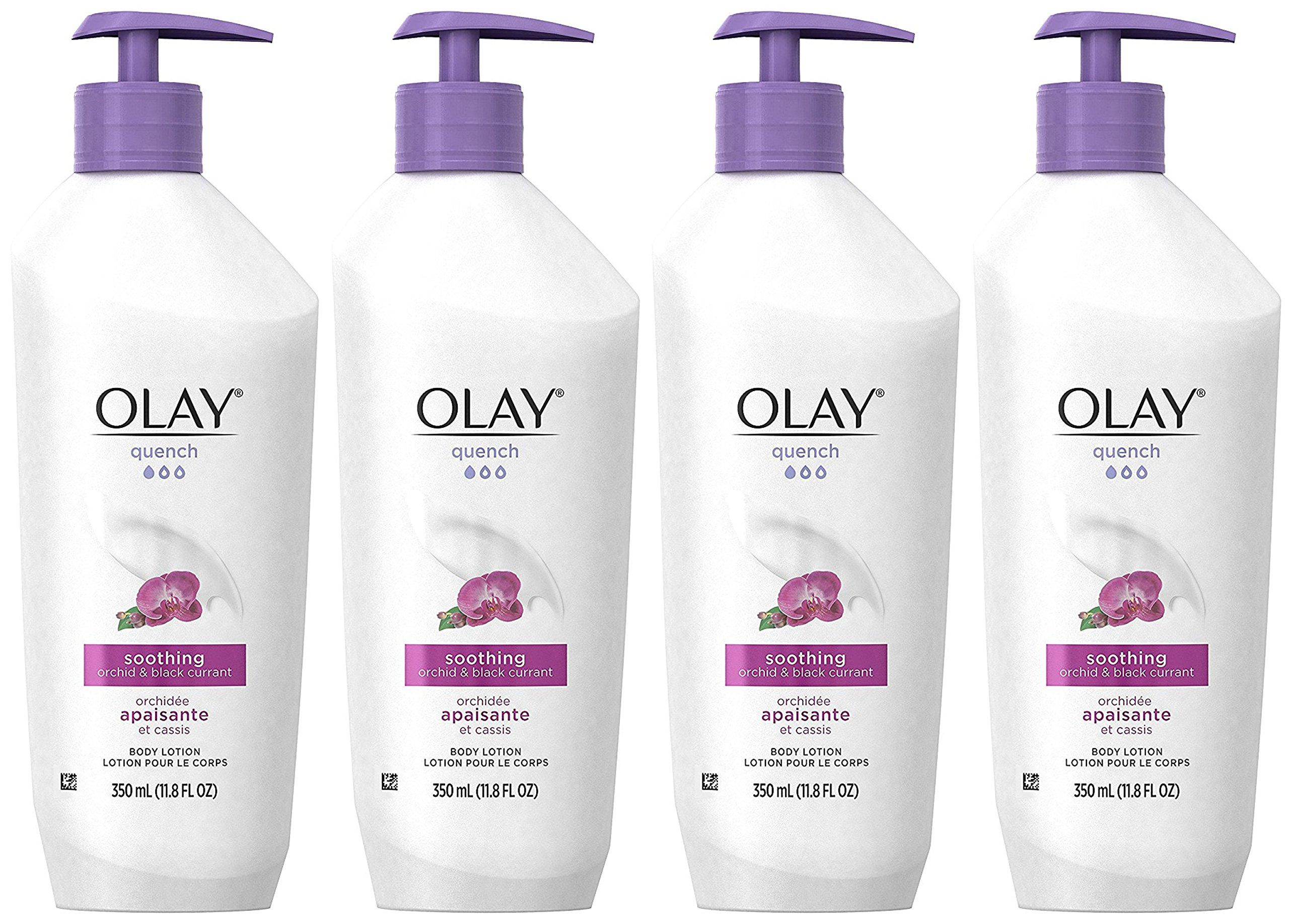 Olay Body Lotion - Quench - Soothing Orchid & Black Currant - Net Wt. 11.8 FL OZ (350 ML) Per Bottle - Pack of 4 Bottles by Olay