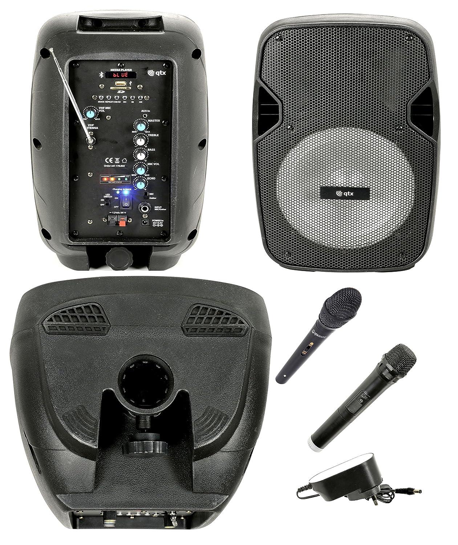 Cassa acustica attiva amplificata altoparlante Karaoke portatile ricaricabile con Bluetooth, Radio, Echo, eco, USB, SD, MMC, MP3, WMA, Microfoni Wireless, ingresso chitarra, equalizzatore ed effetto luce LED RCE