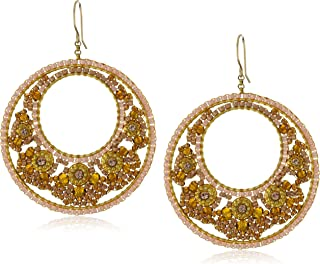 product image for Miguel Ases Brown Garnet-Color Bead 14k Gold Filled Floral Centric Earrings