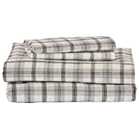 Amazon Brand – Stone & Beam Rustic 100% Cotton Plaid Flannel Bed Sheet Set, Easy...