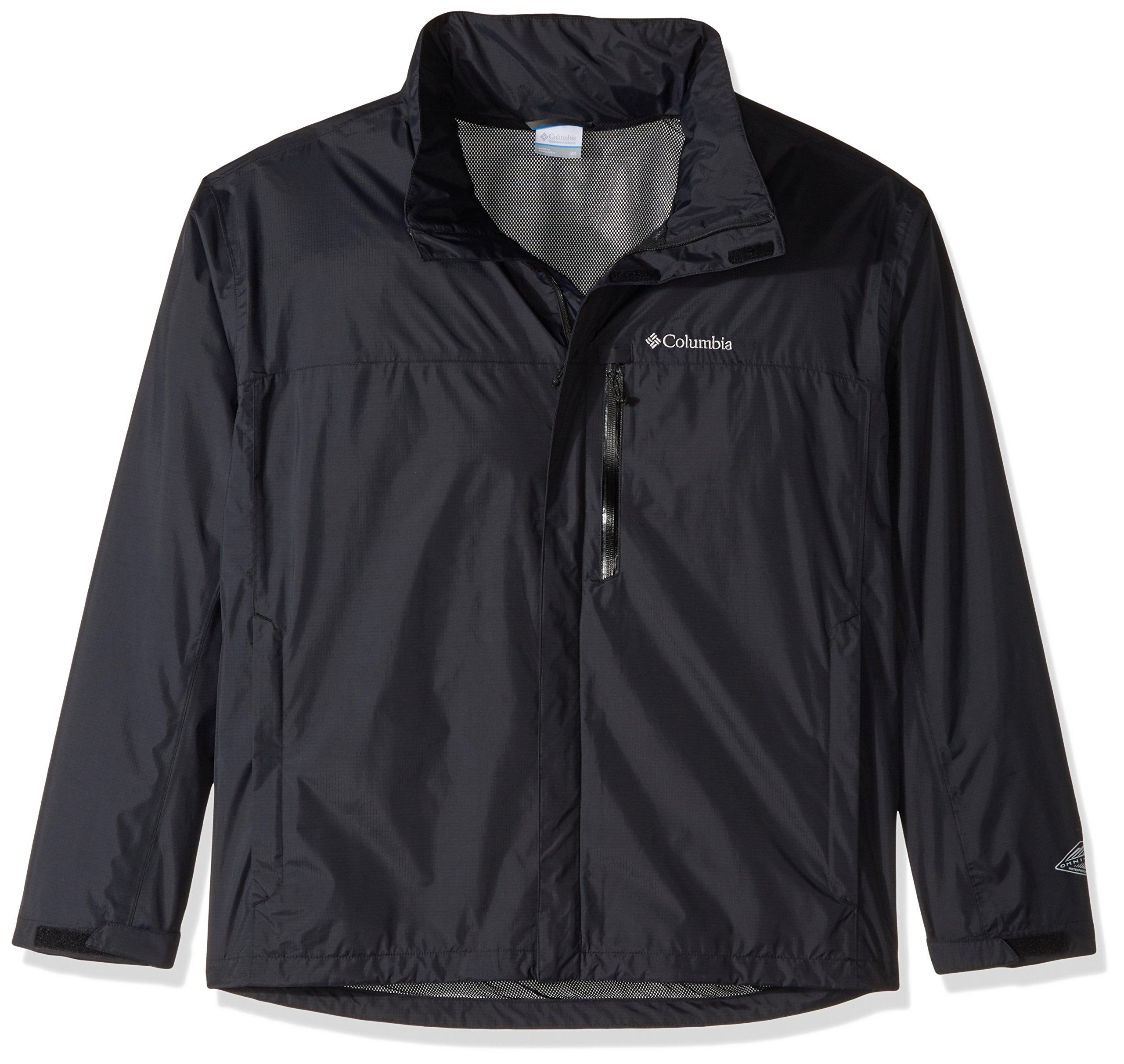 Columbia Men's Pouration Waterproof Rain Jacket, X-Large/Tall, Black