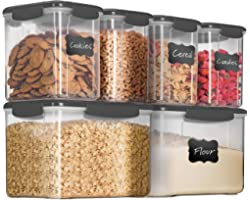 12-Piece Airtight Food Storage 6 Containers With 6 Lids - BPA-FREE Plastic Kitchen Pantry Storage Containers - Dry-Food-Stora
