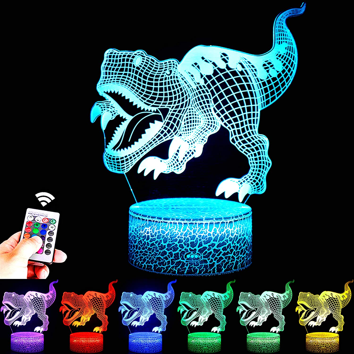 FUFUYOU Dinosaur Toys, 16 Colors 3D Desk Lamp Dimmable Dinosaur Night Light with Remote T Rex for Kids Age 2 3 4 5 6 7 8-12 Year Old Boys Bedroom Decoration Birthday Creative Gifts
