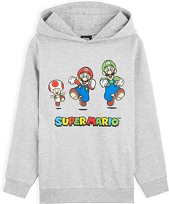 SUPER MARIO Sudadera Niño con Capucha, Sudadera Gris con Personaje Mario Bros y Luigi, Merchandising Oficial Regalos para Niños y Adolescentes Edad 3-14 Años