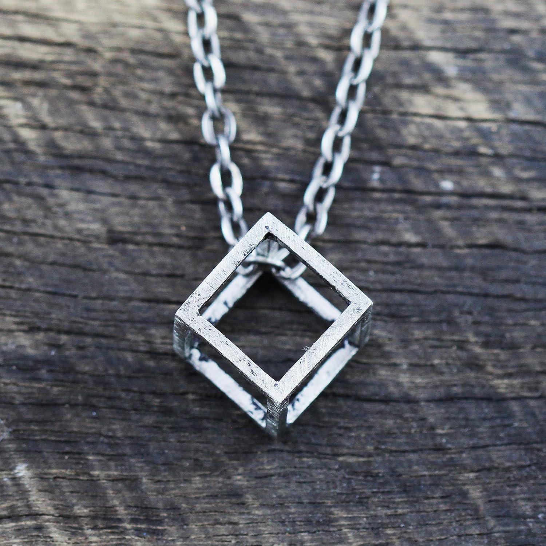 Amazon Com Mens Necklace Cube Pendant Silver Necklace Rustic