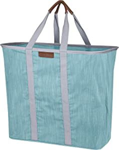 CleverMade Collapsible Laundry Tote Bag - Premium Pop-Up Utility Storage Basket with Handles - Extra Large Foldable Clothes Hamper with Sturdy Frame, Teal/Grey