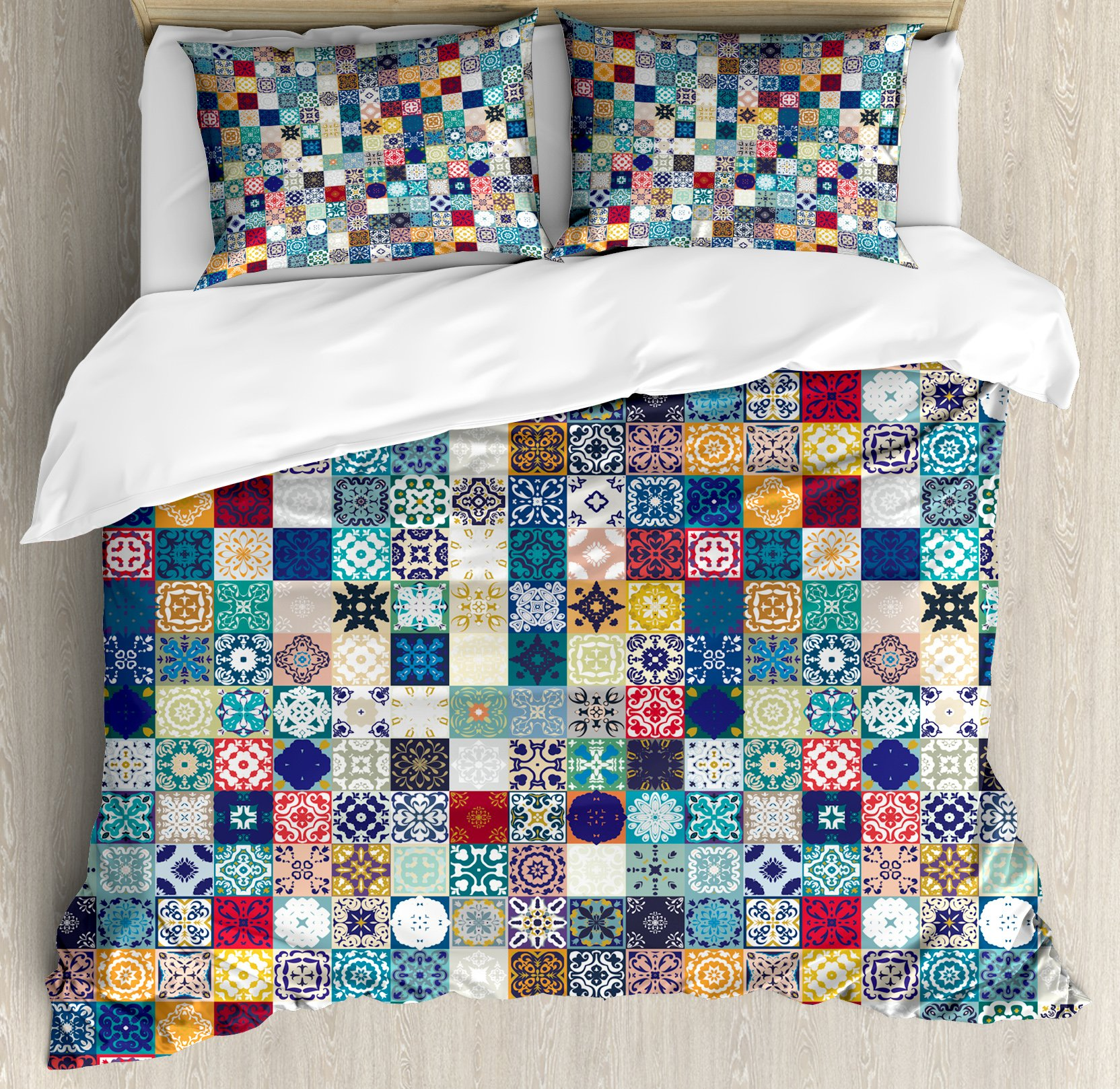 Moroccan King Size Duvet Cover Set by Ambesonne, Oriental Eastern Pattern with Grid Style Patchwork Ornament Tiles Design Asian, Decorative 3 Piece Bedding Set with 2 Pillow Shams, Multicolor