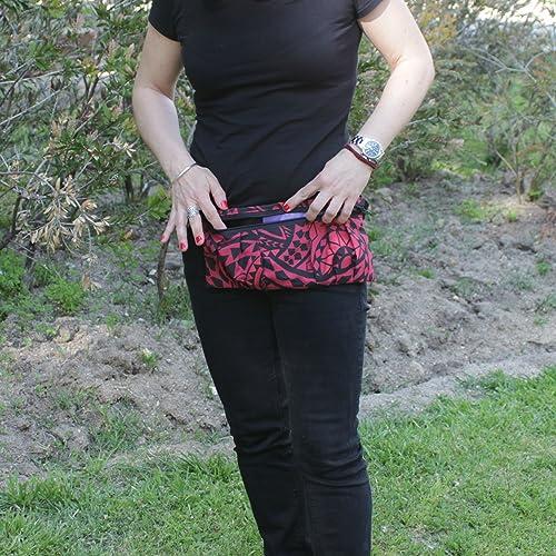 Riñonera Polinesia - Roja y Negra - Bolso cinturón hecho a mano en lona y algodón, cerrado con cremallera: Amazon.es: Handmade
