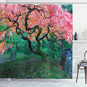 Ambesonne Japanese Shower Curtain, Aged Red Leaf Maple Moss Garden Sceneryin Autumn Grass Relaxation in Nature, Cloth Fabric Bathroom Decor Set with Hooks, 70