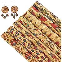 "SHUANGART Aboriginal Printed Real Cork Faux Leather Sheets 7pcs 8.2"" x 11.8"" A4 Size Fabric Making Earrings Bows Handbag…"