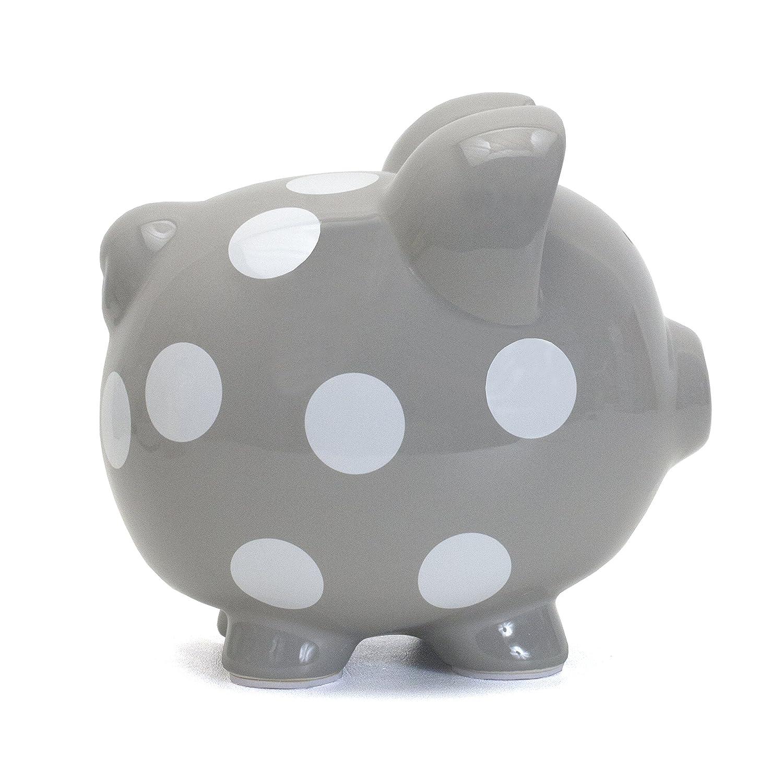 Child to Cherish Polka Dot Piggy Bank Grey