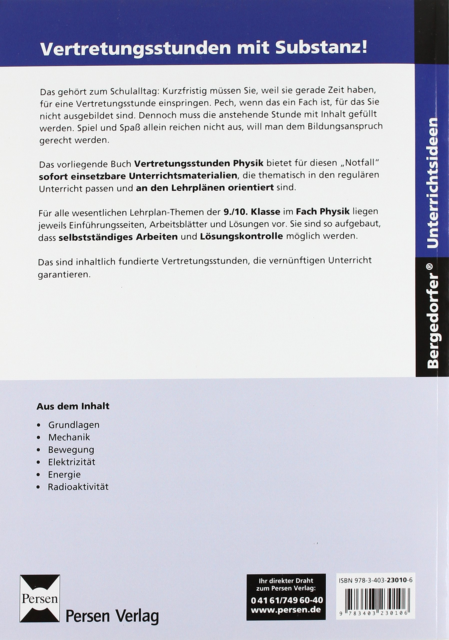 Vertretungsstunden Physik 9./10. Klasse: 9783403230106: Amazon.com ...