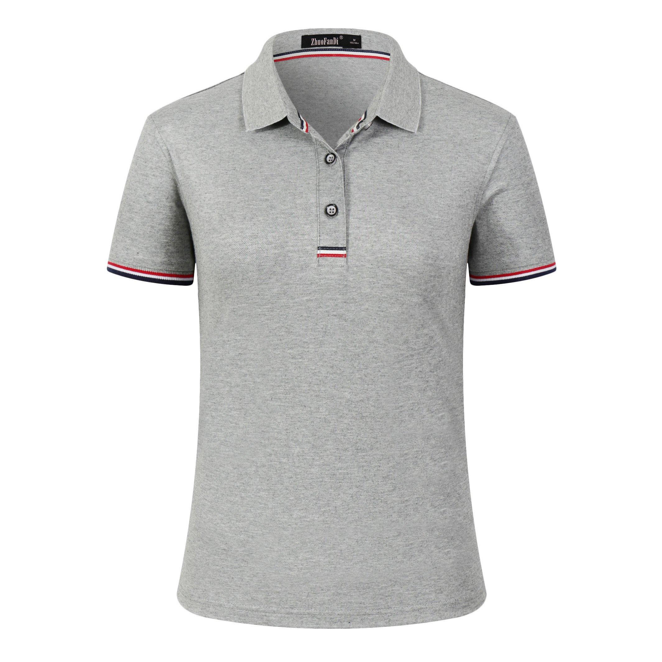 Mitario Femiego Women Classic Striped Collar Slim Fit Short Golf Polo Shirt Gray S
