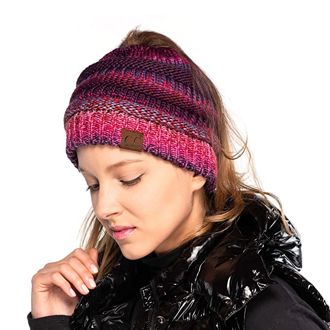 C.C Exclusives Messy Bun Ponytail Beanie Winter Hat for Women (Burgundy Mix) 5a8431858