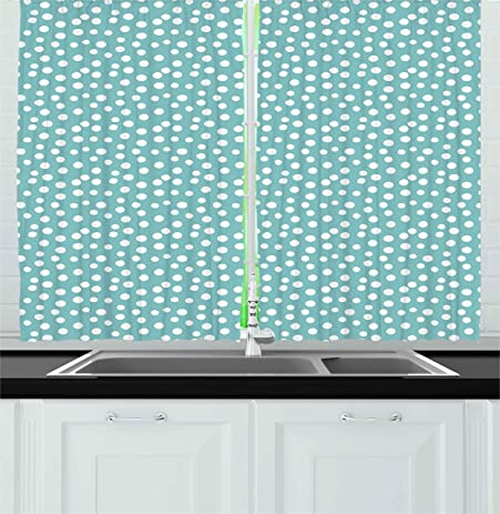 Turquoise Kitchen Curtains By Ambesonne, Retro Vintage 60s 50s Inspired  Geometric Polka Dots Romantic Art