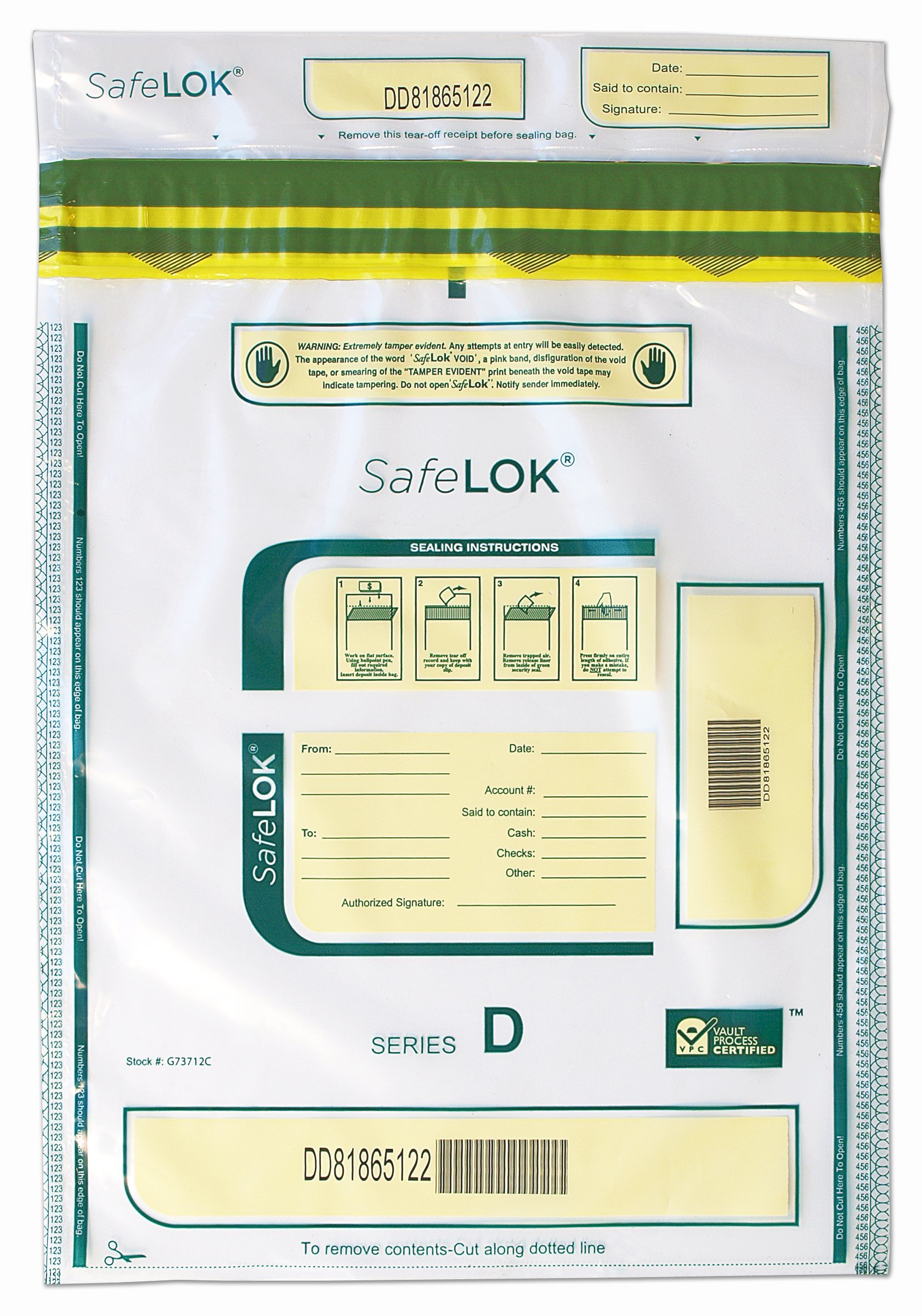 12 X 16 SafeLok, Clear, 100 Deposit Bags by CONTROLTEK