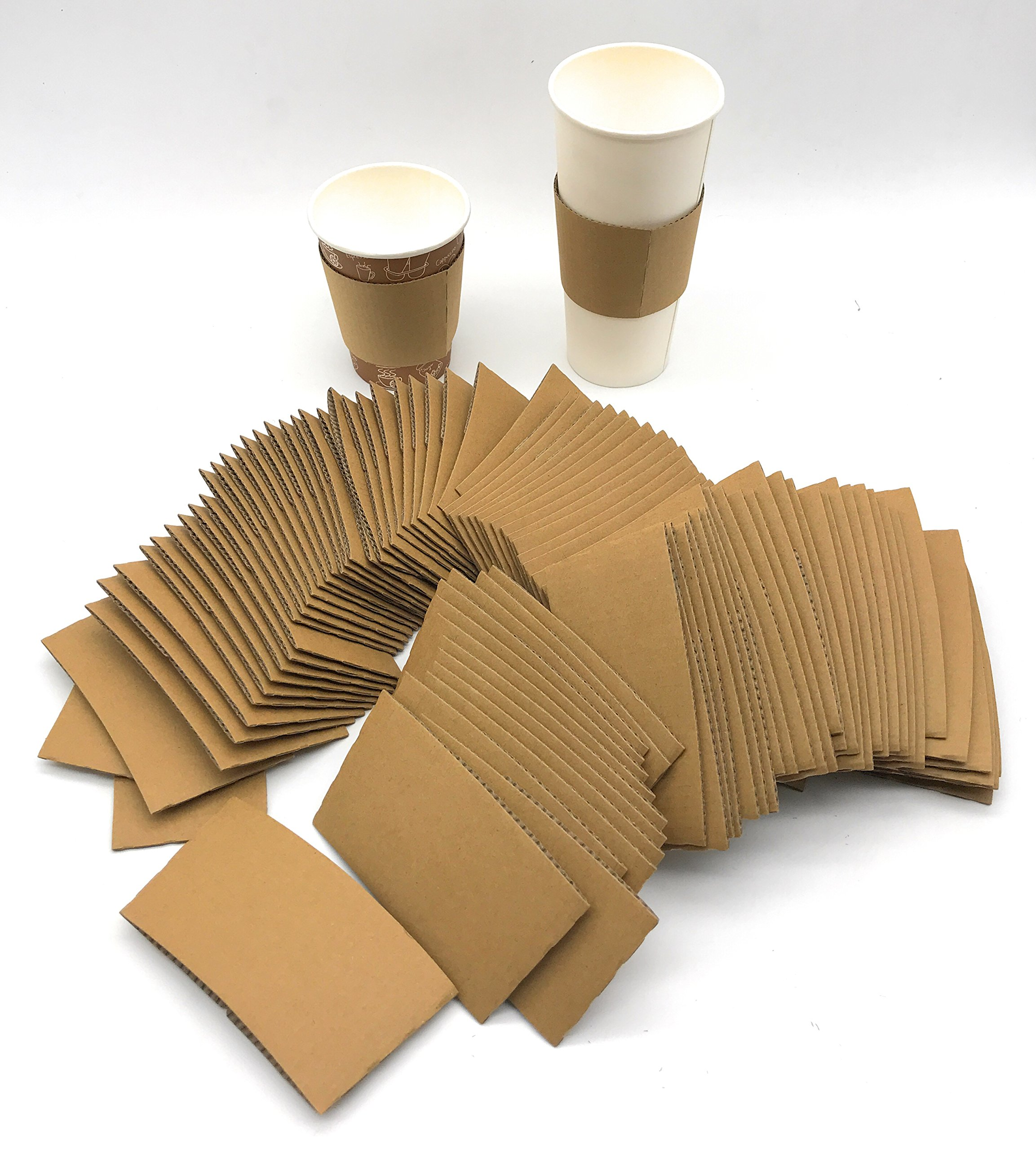[5950 Count] Disposable Corrugated Hot Cup Sleeves Java Jackets - Natural compostable Kraft Color Cup Sleeve Protective Heat Insulation Paper Plastic Cups hot Coffee Tea Chocolate Drinks Insulated by Harvest Pack (Image #3)