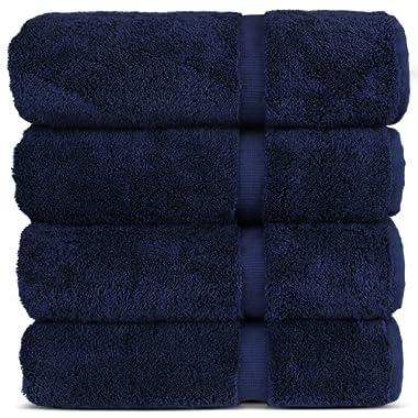 Chakir Turkish Linens Turkish Cotton 27x54 Luxury Hotel & Spa 4 Pack Bath Towel, Navy