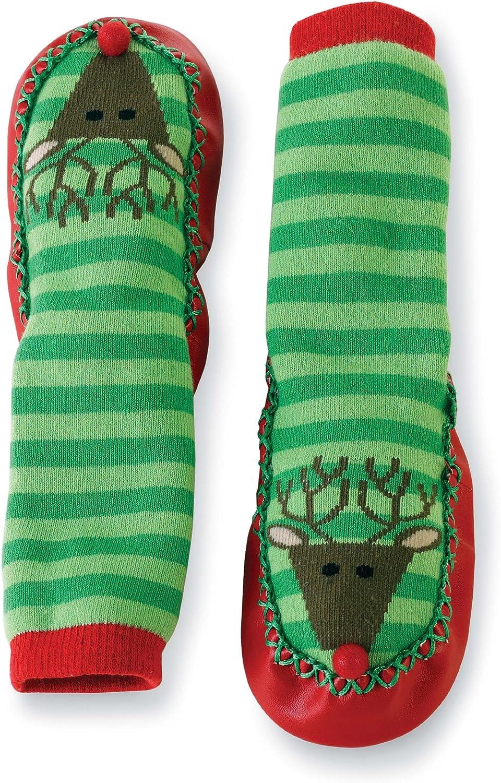 Mud Pie Baby-girls Newborn Reindeer Striped Sock Slippers