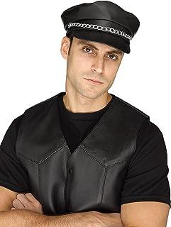 Forum Novelties Menu0027s Adult Biker Hat Costume Accessory  sc 1 st  Amazon.com & Amazon.com: Jacobson Vinyl Bikers Cap with Silver Chain: Clothing