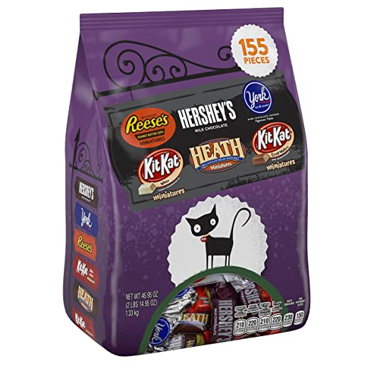 HERSHEY'S Halloween Snack Size Assortment (46.95-Ounce Bag, 155 Pieces)