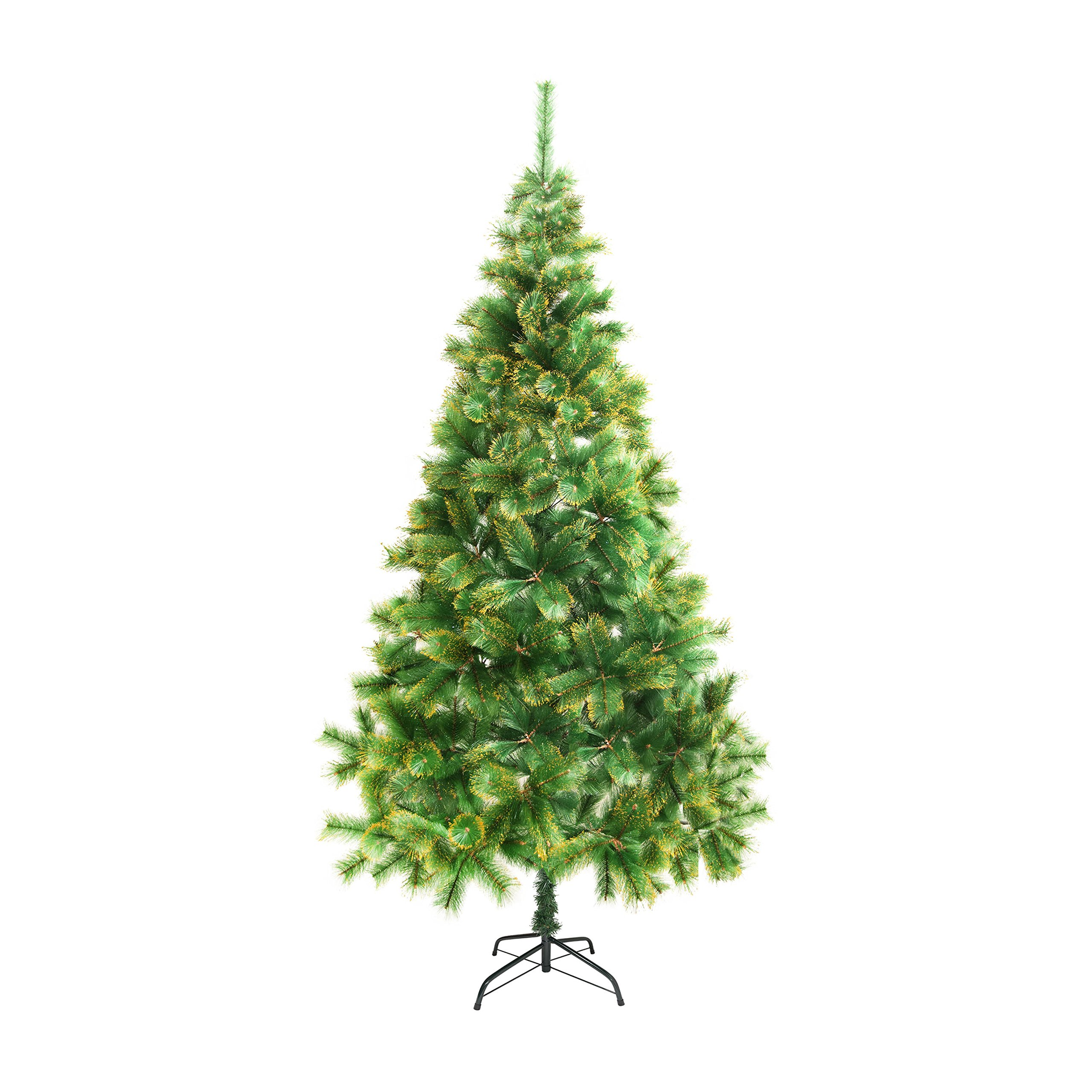 ALEKO CT83H14 Artificial Holiday Christmas Tree Premium Pine with Stand and Golden Glitter Tips 7 Foot Green