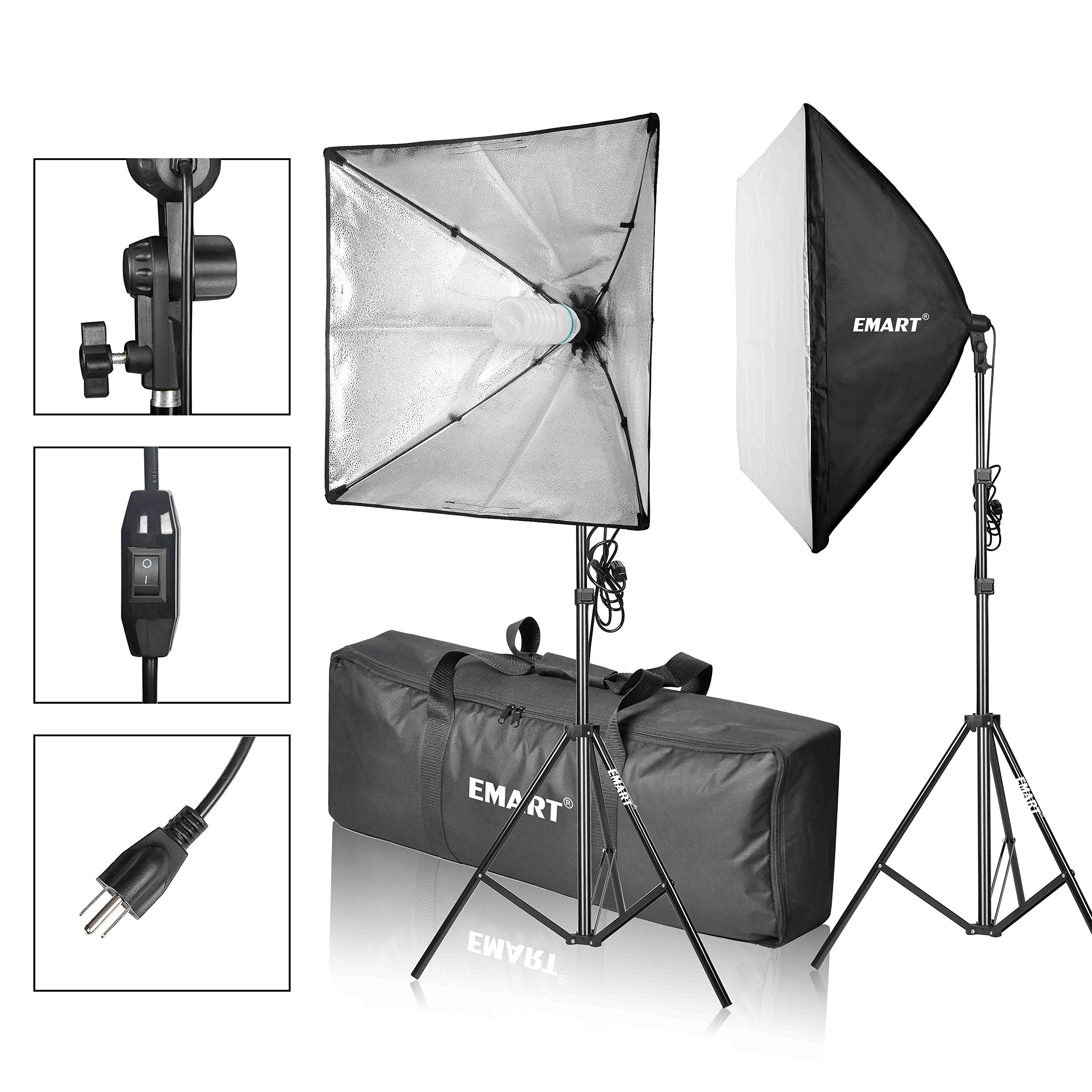 EMART Softbox Photography Video Studio Equipment Lighting Kit, 900 Watt Continuous Photo Portrait Light System, 24'' x 24'' Softboxes