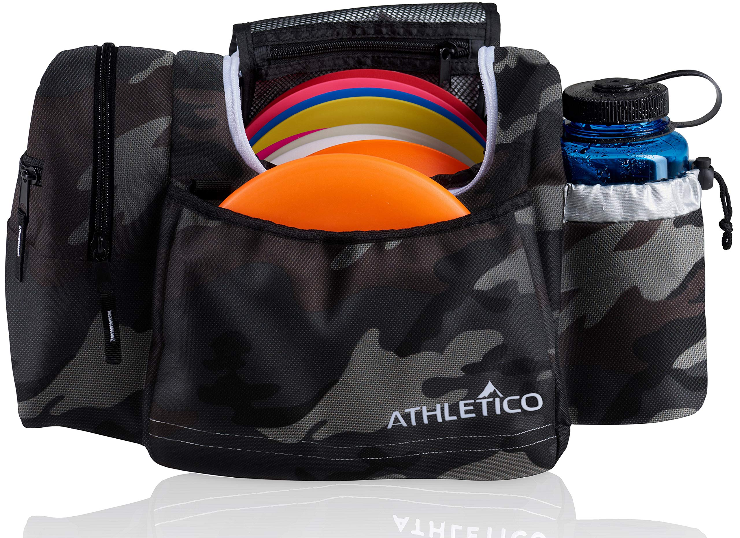 Athletico Disc Golf Bag - Tote Bag for Frisbee Golf - Holds 10-14 Discs, Water Bottle, and Accessories (Gray Camo) by Athletico